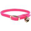 Collar Nylon Elastico Con Cascabel.110X300. Rosa